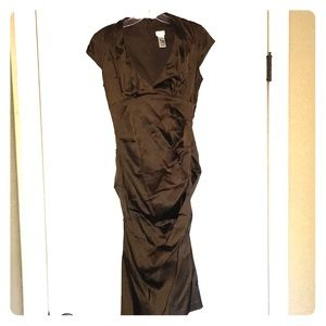 CACHE brown satin cocktail dress
